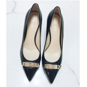 Coach Black Leather Embossed Pointed Toe Heels